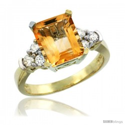 14k Yellow Gold Ladies Natural Citrine Ring Emerald-shape 9x7 Stone Diamond Accent