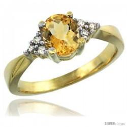 14k Yellow Gold Ladies Natural Citrine Ring oval 7x5 Stone Diamond Accent -Style Cy409168