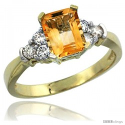 14k Yellow Gold Ladies Natural Citrine Ring Emerald-shape 7x5 Stone Diamond Accent