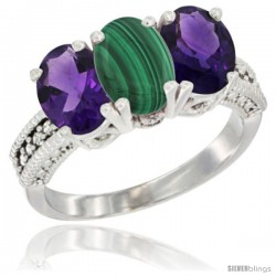 10K White Gold Natural Malachite & Amethyst Sides Ring 3-Stone Oval 7x5 mm Diamond Accent