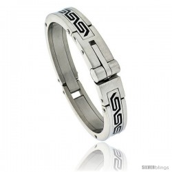 Gent's Stainless Steel Bangle Bracelet, w/ Greek Key Pattern 5/8 in wide