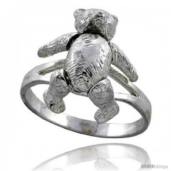 Sterling Silver Movable Teddy Bear Ring