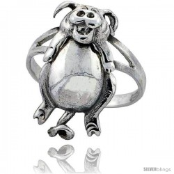 Sterling Silver Movable Pig Ring