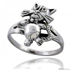 Sterling Silver Movable Cat Ring