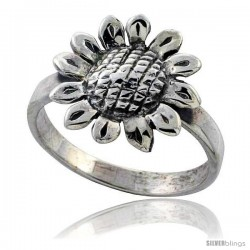 Sterling Silver Movable Sunflower Ring, 11/16 in wide