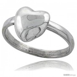 Sterling Silver Movable Heart Ring 1/2 in wide