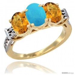 10K Yellow Gold Natural Turquoise & Whisky Quartz Sides Ring 3-Stone Oval 7x5 mm Diamond Accent