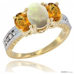 10K Yellow Gold Ladies Oval Natural Opal 3-Stone Ring with Whisky Quartz Sides Diamond Accent