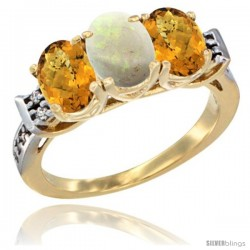 10K Yellow Gold Natural Opal & Whisky Quartz Sides Ring 3-Stone Oval 7x5 mm Diamond Accent
