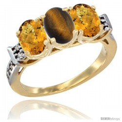 10K Yellow Gold Natural Tiger Eye & Whisky Quartz Sides Ring 3-Stone Oval 7x5 mm Diamond Accent