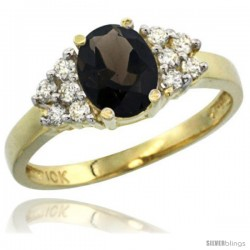10k Yellow Gold Ladies Natural Smoky Topaz Ring oval 8x6 Stone