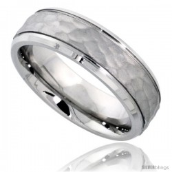 Surgical Steel 6mm Wedding Band Ring Hammered Center Grooved Beveled Edges Comfort-Fit