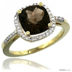 10k Yellow Gold Ladies Natural Smoky Topaz Ring Cushion-cut 3.8 ct. 8x8 Stone