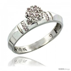10k White Gold Diamond Engagement Ring 0.05 cttw Brilliant Cut, 5/32 in wide -Style Ljw022er