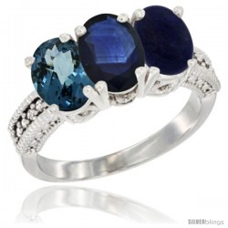 14K White Gold Natural London Blue Topaz, Blue Sapphire & Lapis Ring 3-Stone 7x5 mm Oval Diamond Accent