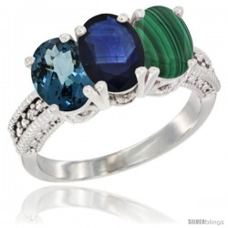14K White Gold Natural London Blue Topaz, Blue Sapphire & Malachite Ring 3-Stone 7x5 mm Oval Diamond Accent