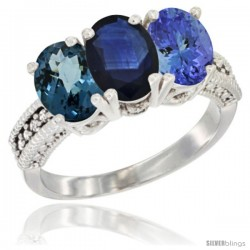 14K White Gold Natural London Blue Topaz, Blue Sapphire & Tanzanite Ring 3-Stone 7x5 mm Oval Diamond Accent