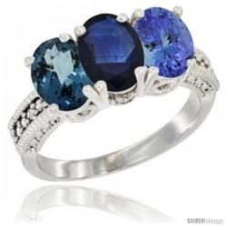 14K White Gold Natural London Blue Topaz, Blue Sapphire & Tanzanite Ring 3-Stone 7x5 mm Oval Diamond Accent