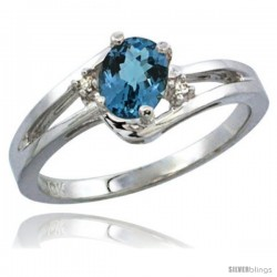 14k White Gold Ladies Natural London Blue Topaz Ring oval 6x4 Stone Diamond Accent -Style Cw405165