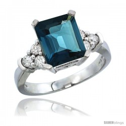 14k White Gold Ladies Natural London Blue Topaz Ring Emerald-shape 9x7 Stone Diamond Accent