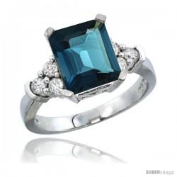 14k White Gold Ladies Natural London Blue Topaz Ring Emerald-shape 9x7 Stone Diamond Accent