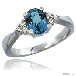 14k White Gold Ladies Natural London Blue Topaz Ring oval 7x5 Stone Diamond Accent -Style Cw405168