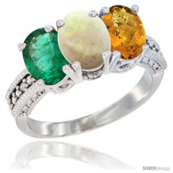 14K White Gold Natural Emerald, Opal & Whisky Quartz Ring 3-Stone 7x5 mm Oval Diamond Accent