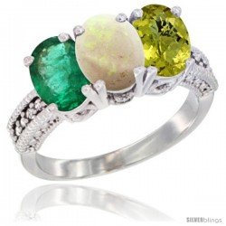 14K White Gold Natural Emerald, Opal & Lemon Quartz Ring 3-Stone 7x5 mm Oval Diamond Accent
