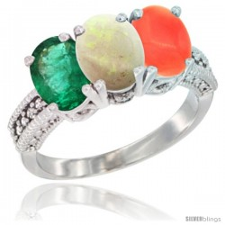 14K White Gold Natural Emerald, Opal & Coral Ring 3-Stone 7x5 mm Oval Diamond Accent