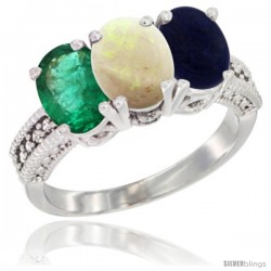 14K White Gold Natural Emerald, Opal & Lapis Ring 3-Stone 7x5 mm Oval Diamond Accent