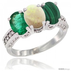14K White Gold Natural Emerald, Opal & Malachite Ring 3-Stone 7x5 mm Oval Diamond Accent