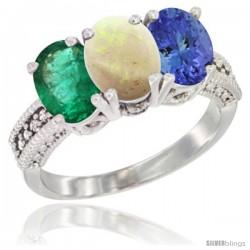 14K White Gold Natural Emerald, Opal & Tanzanite Ring 3-Stone 7x5 mm Oval Diamond Accent