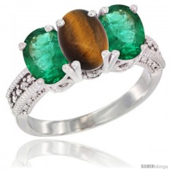 14K White Gold Natural Tiger Eye & Emerald Sides Ring 3-Stone 7x5 mm Oval Diamond Accent