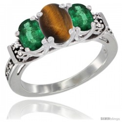 14K White Gold Natural Tiger Eye & Emerald Ring 3-Stone Oval with Diamond Accent