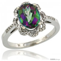 10k White Gold Diamond Halo Mystic Topaz Ring 1.65 Carat Oval Shape 9X7 mm, 7/16 in (11mm) wide