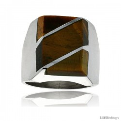 Gent's Sterling Silver Tiger Eye with Diagonal Stripes Ring