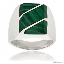 Gent's Sterling Silver Malachite with Diagonal Stripes Ring