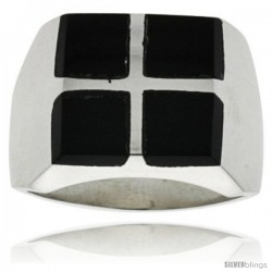 Gent's Sterling Silver Square Cuts Black Obsidian Ring