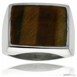 Gent's Sterling Silver Large Square Tiger Eye Ring