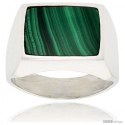 Gent's Sterling Silver Large Square Malachite Ring