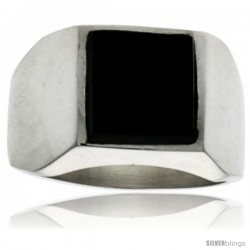 Gent's Sterling Silver Square Black Obsidian Ring