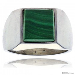 Gent's Sterling Silver Square Malachite Ring