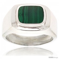 Gent's Sterling Silver Malachite Ring