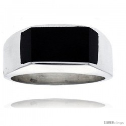 Gent's Sterling Silver Slim Rectangular Black Obsidian Ring