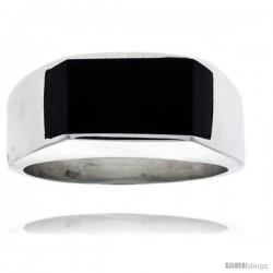 Gent's Sterling Silver Slim Rectangular Black Obsidian Ring