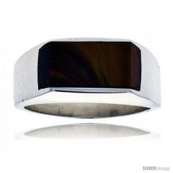 Gent's Sterling Silver Slim Rectangular Tiger Eye Ring