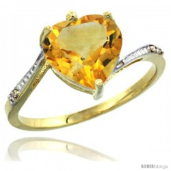 14k Yellow Gold Ladies Natural Citrine Ring Heart-shape 9x9 Stone Diamond Accent