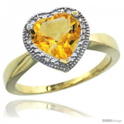 14k Yellow Gold Ladies Natural Citrine Ring Heart-shape 8x8 Stone Diamond Accent