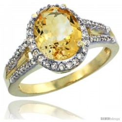 14k Yellow Gold Ladies Natural Citrine Ring oval 10x8 Stone Diamond Accent