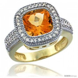 14K Yellow Gold Natural Citrine Ring Cushion-cut 9x9 Stone Diamond Accent